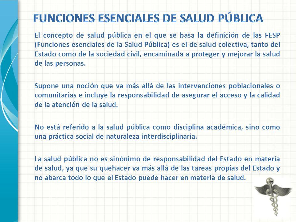 El concepto de salud pública en el que se basa la definición de las FESP (Funciones esenciales de la Salud Pública) es el de salud colectiva, tanto de