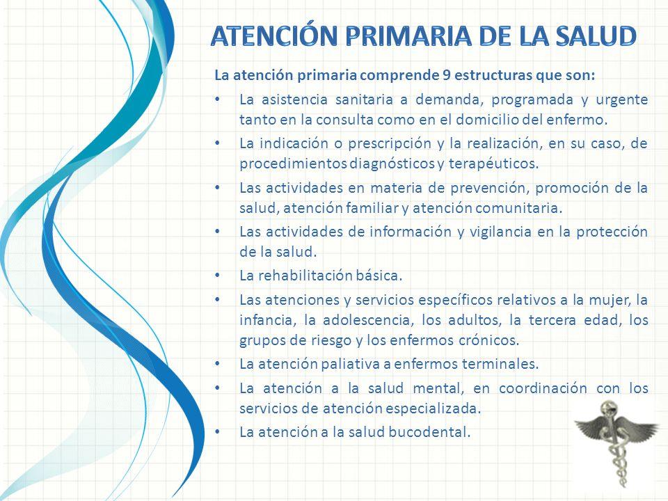La atención primaria comprende 9 estructuras que son: La asistencia sanitaria a demanda, programada y urgente tanto en la consulta como en el domicili