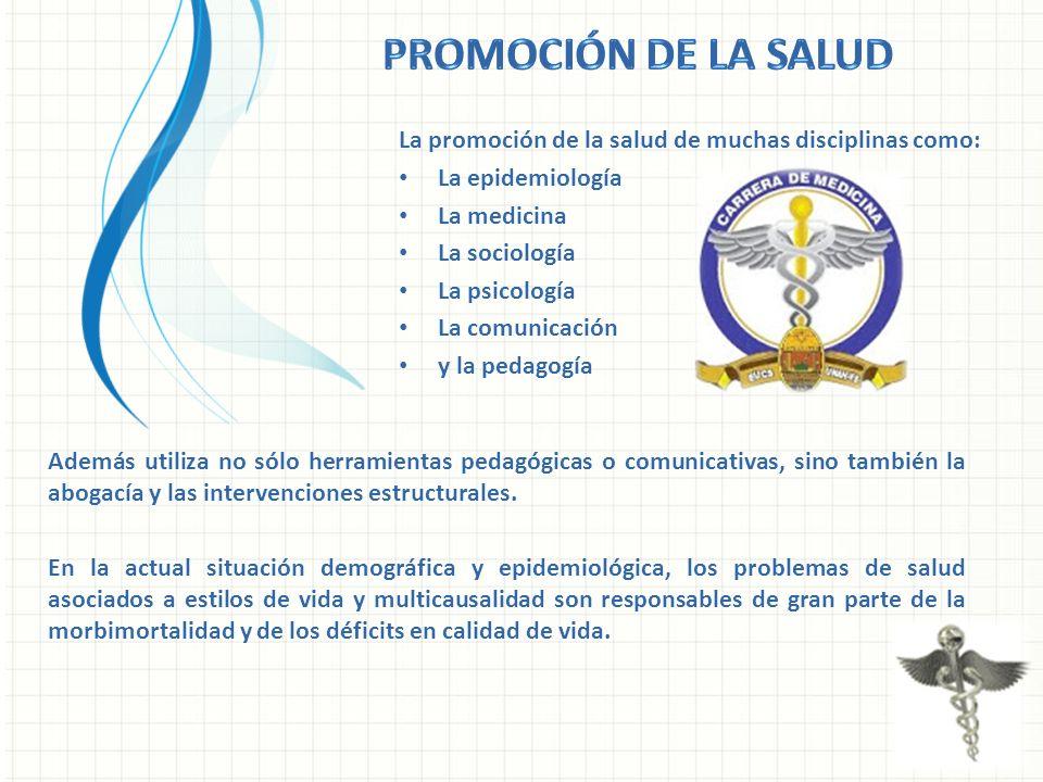 La promoción de la salud de muchas disciplinas como: La epidemiología La medicina La sociología La psicología La comunicación y la pedagogía Además ut