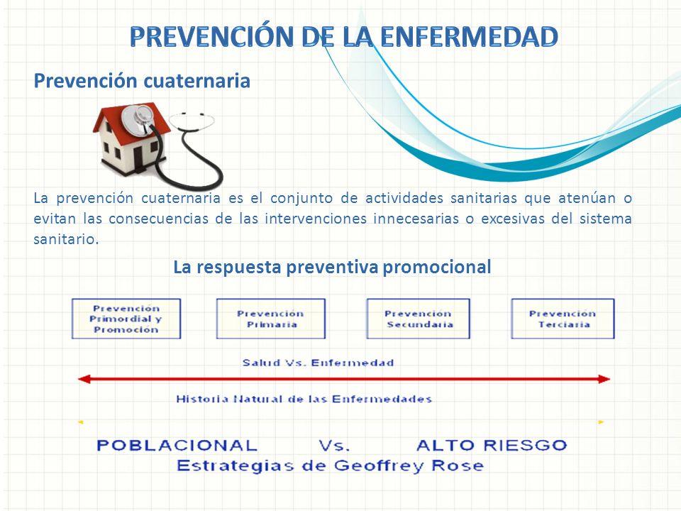 Prevención cuaternaria La prevención cuaternaria es el conjunto de actividades sanitarias que atenúan o evitan las consecuencias de las intervenciones