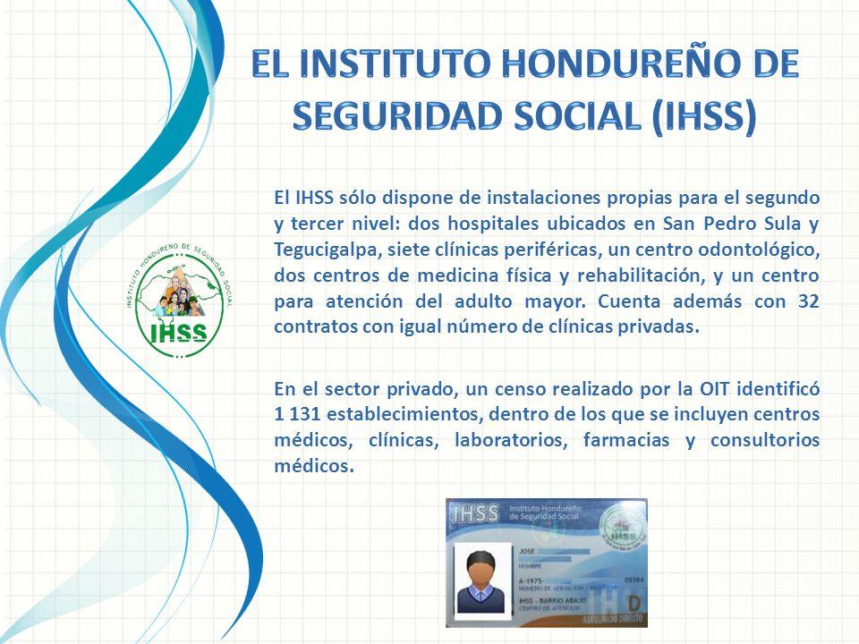 El IHSS sólo dispone de instalaciones propias para el segundo y tercer nivel: dos hospitales ubicados en San Pedro Sula y Tegucigalpa, siete clínicas