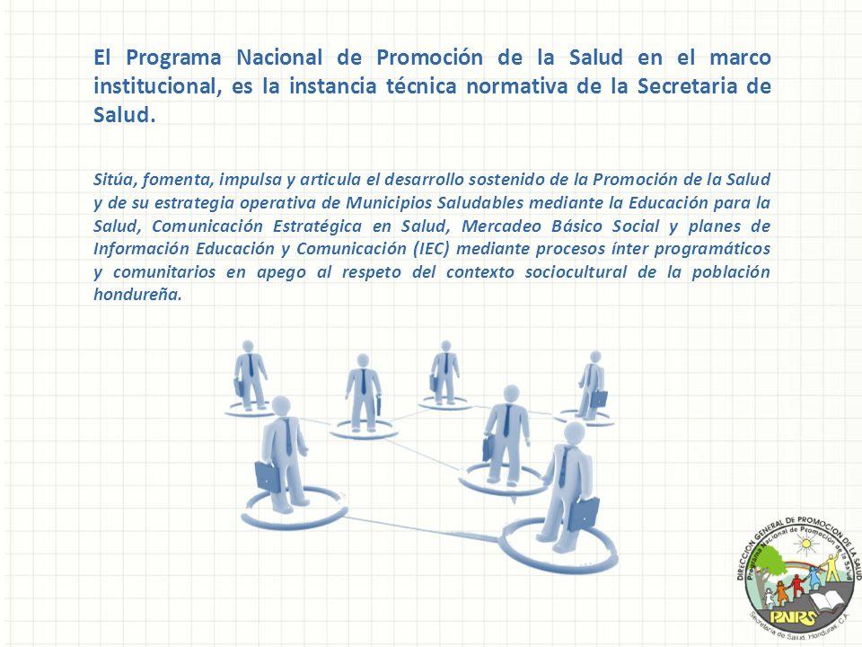 El Programa Nacional de Promoción de la Salud en el marco institucional, es la instancia técnica normativa de la Secretaria de Salud. Sitúa, fomenta,