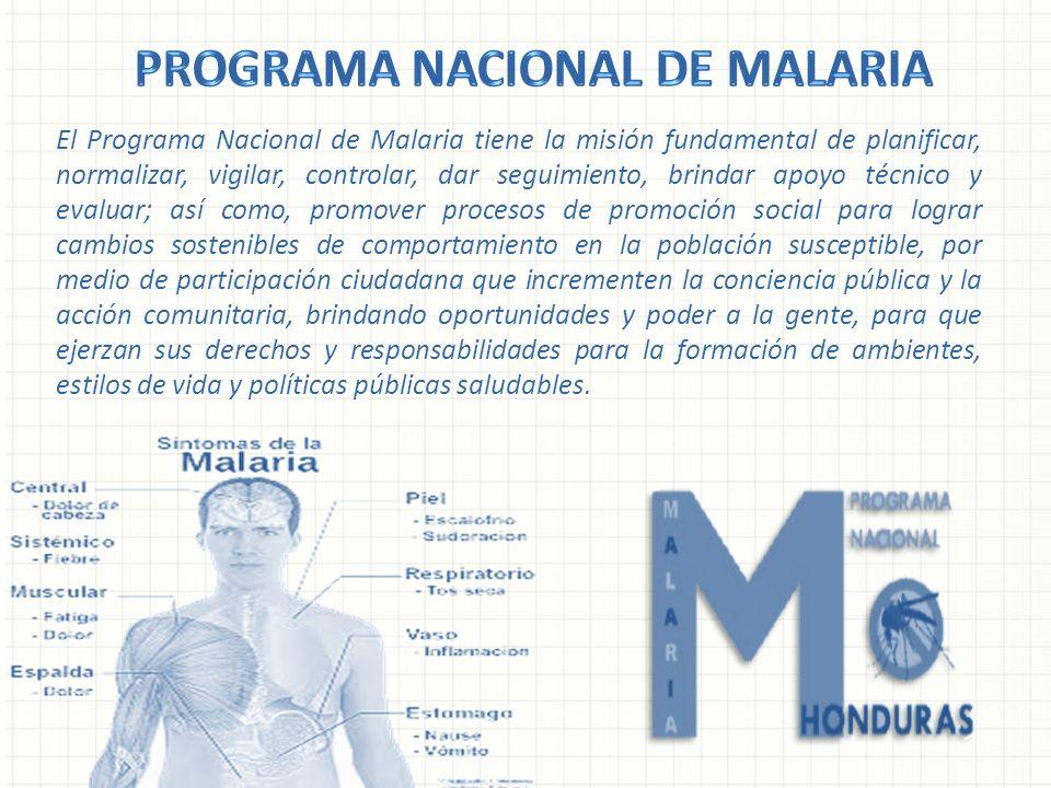 El Programa Nacional de Malaria tiene la misión fundamental de planificar, normalizar, vigilar, controlar, dar seguimiento, brindar apoyo técnico y ev