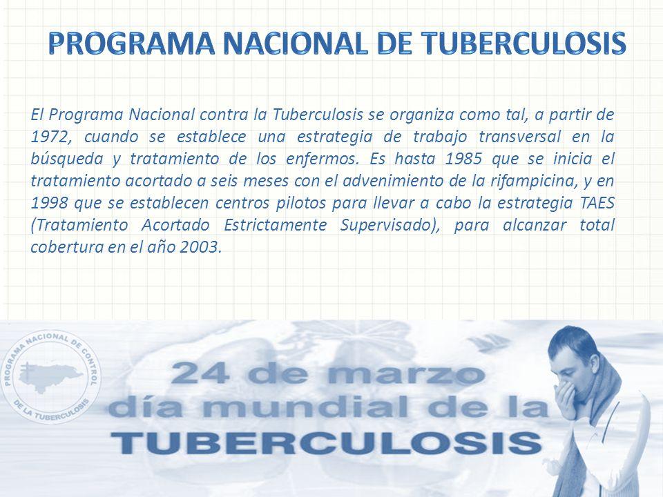 El Programa Nacional contra la Tuberculosis se organiza como tal, a partir de 1972, cuando se establece una estrategia de trabajo transversal en la bú