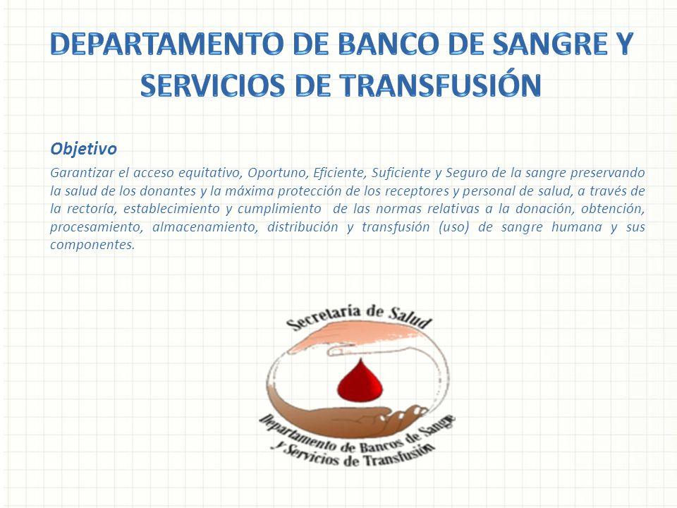 Objetivo Garantizar el acceso equitativo, Oportuno, Eficiente, Suficiente y Seguro de la sangre preservando la salud de los donantes y la máxima prote