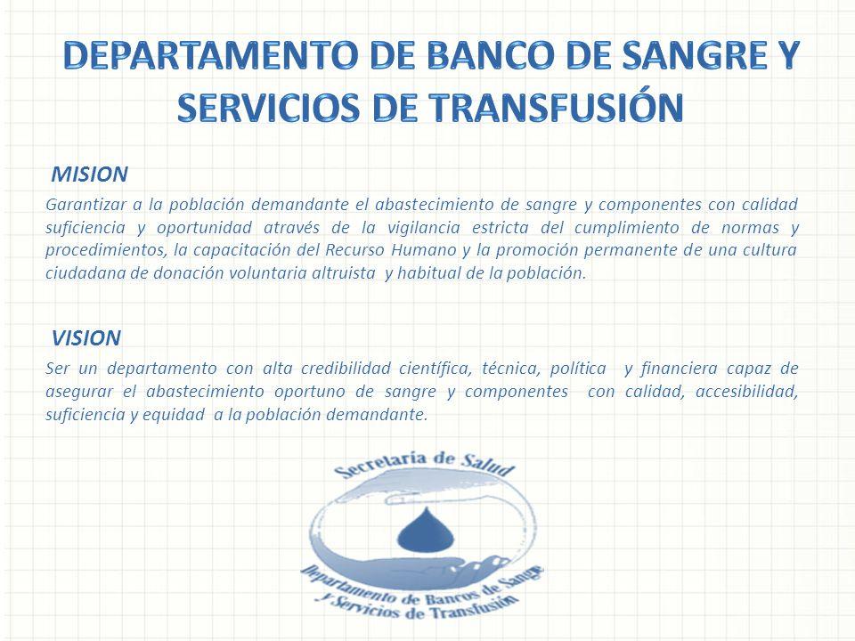 MISION Garantizar a la población demandante el abastecimiento de sangre y componentes con calidad suficiencia y oportunidad através de la vigilancia e