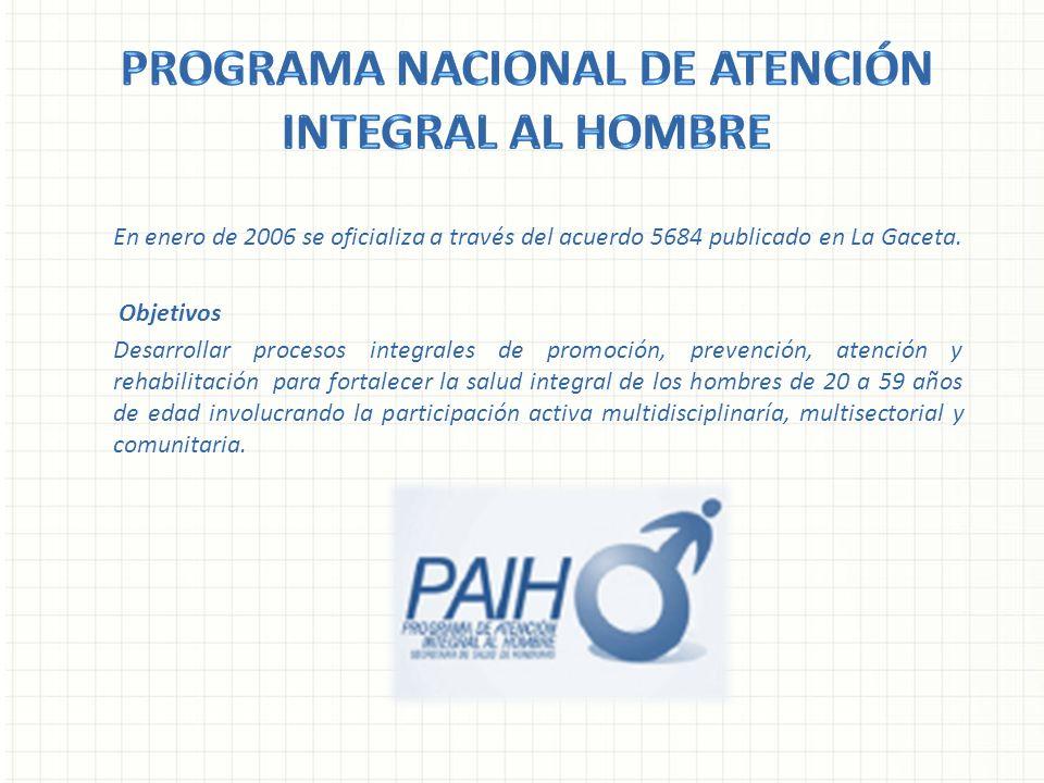 En enero de 2006 se oficializa a través del acuerdo 5684 publicado en La Gaceta. Objetivos Desarrollar procesos integrales de promoción, prevención, a
