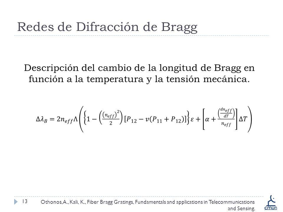 Redes de Difracción de Bragg 13 Descripción del cambio de la longitud de Bragg en función a la temperatura y la tensión mecánica. Othonos, A., Kali, K