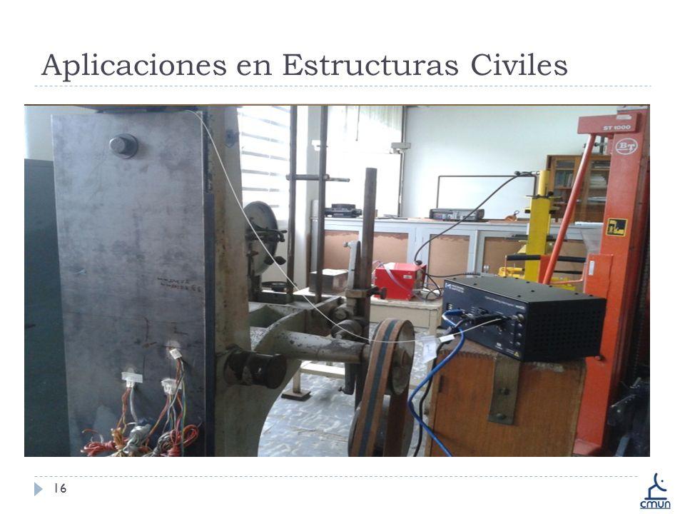 Aplicaciones en Estructuras Civiles 16 Monitoreo Estructural Caracterización de Concreto Análisis de Infraestructuras Pruebas destructivas Compresión de cemento