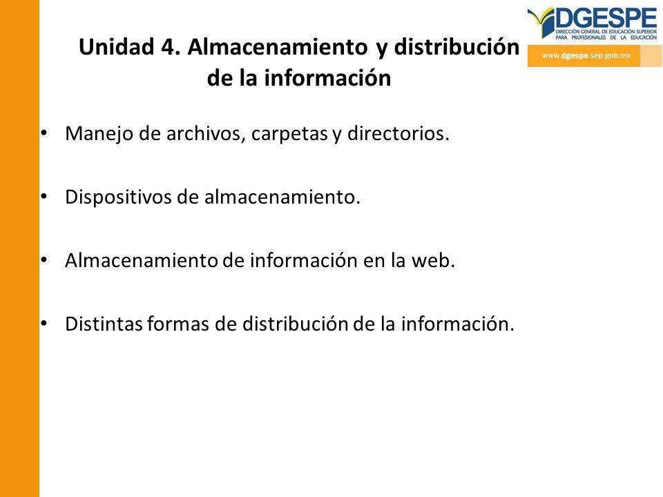 Unidad 4. Almacenamiento y distribución de la información Manejo de archivos, carpetas y directorios. Dispositivos de almacenamiento. Almacenamiento d