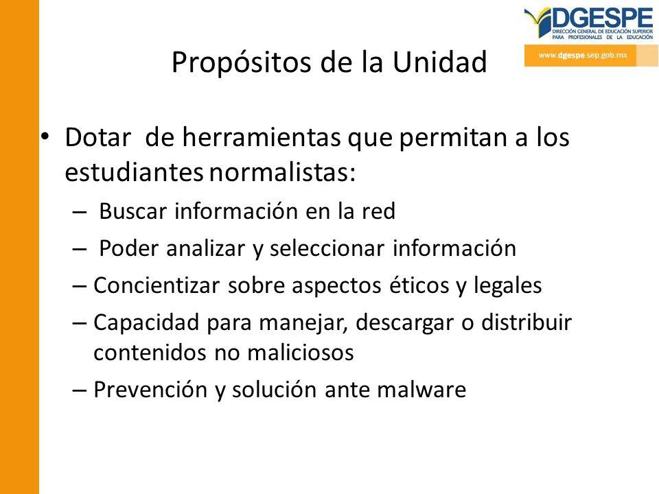 Propósitos de la Unidad Dotar de herramientas que permitan a los estudiantes normalistas: – Buscar información en la red – Poder analizar y selecciona