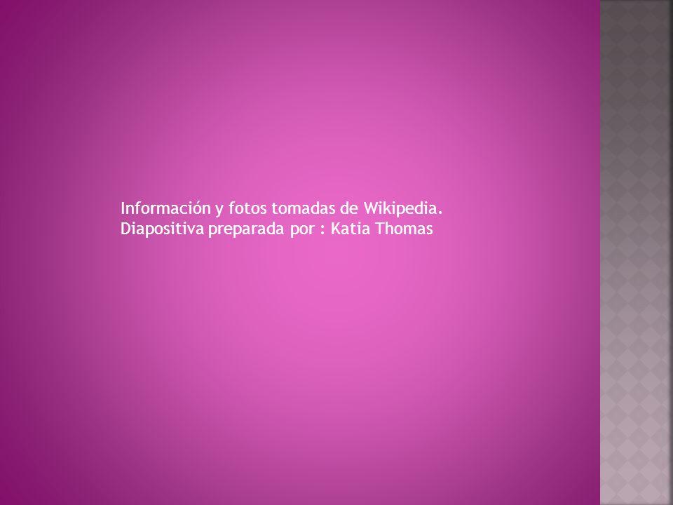 Información y fotos tomadas de Wikipedia. Diapositiva preparada por : Katia Thomas