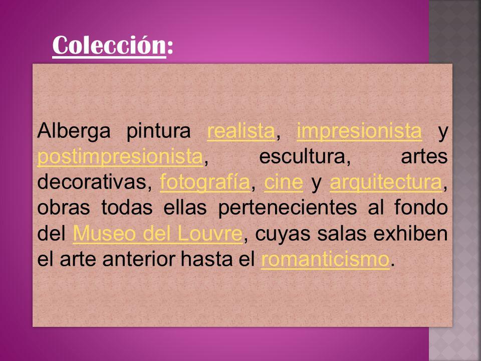 Colección: Alberga pintura realista, impresionista y postimpresionista, escultura, artes decorativas, fotografía, cine y arquitectura, obras todas ell