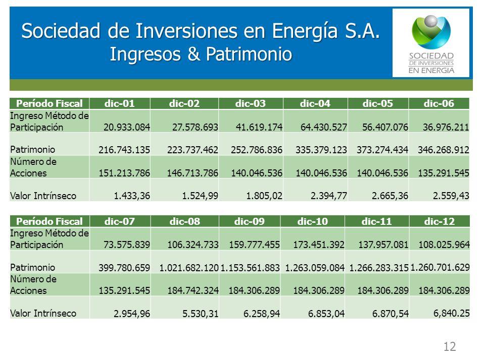 RESULTADOS FINANCIEROS SOCIEDAD DE INVERSIONES EN ENERGIA (SIE) 12 Sociedad de Inversiones en Energía S.A. Ingresos & Patrimonio Período Fiscaldic-01d
