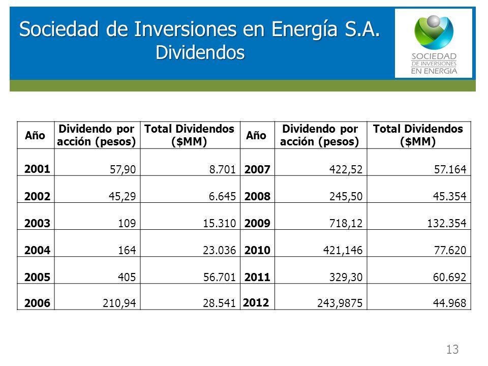 RESULTADOS FINANCIEROS SOCIEDAD DE INVERSIONES EN ENERGIA (SIE) Sociedad de Inversiones en Energía S.A. Dividendos 13 Año Dividendo por acción (pesos)
