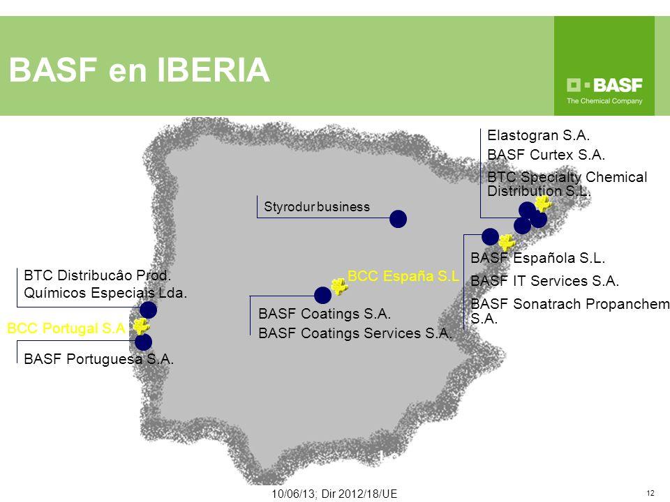 BASF en IBERIA 10/06/13; Dir 2012/18/UE 12 BTC Distribucâo Prod.