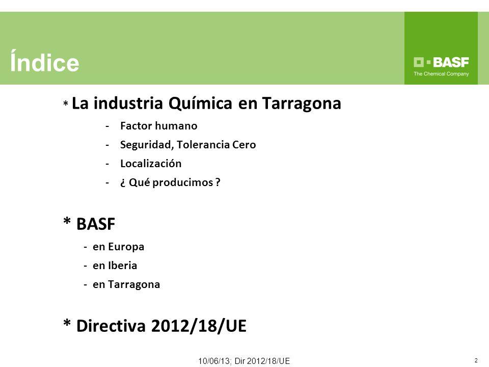 * La industria Química en Tarragona -Factor humano -Seguridad, Tolerancia Cero -Localización -¿ Qué producimos .
