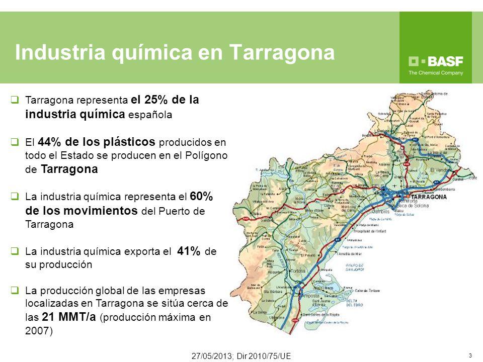 Industria química en Tarragona Tarragona representa el 25% de la industria química española El 44% de los plásticos producidos en todo el Estado se producen en el Polígono de Tarragona La industria química representa el 60% de los movimientos del Puerto de Tarragona La industria química exporta el 41% de su producción La producción global de las empresas localizadas en Tarragona se sitúa cerca de las 21 MMT/a (producción máxima en 2007) 27/05/2013; Dir 2010/75/UE 3