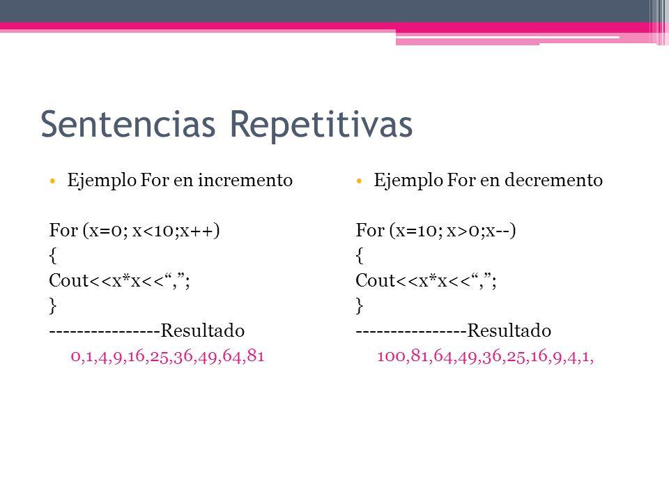 Sentencias Repetitivas Condicionales While (condicion) { sentencia1; sentencia2; } Do { sentencia1; sentencia2; }while(condicion); While permite repetir una serie de instrucciones mientras se cumpla una condición.