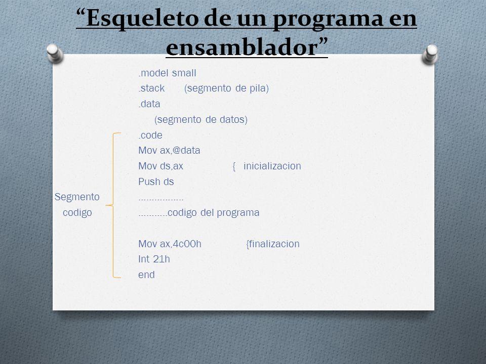 Esqueleto de un programa en ensamblador.model small.stack (segmento de pila).data (segmento de datos).code Mov ax,@data Mov ds,ax { inicializacion Pus