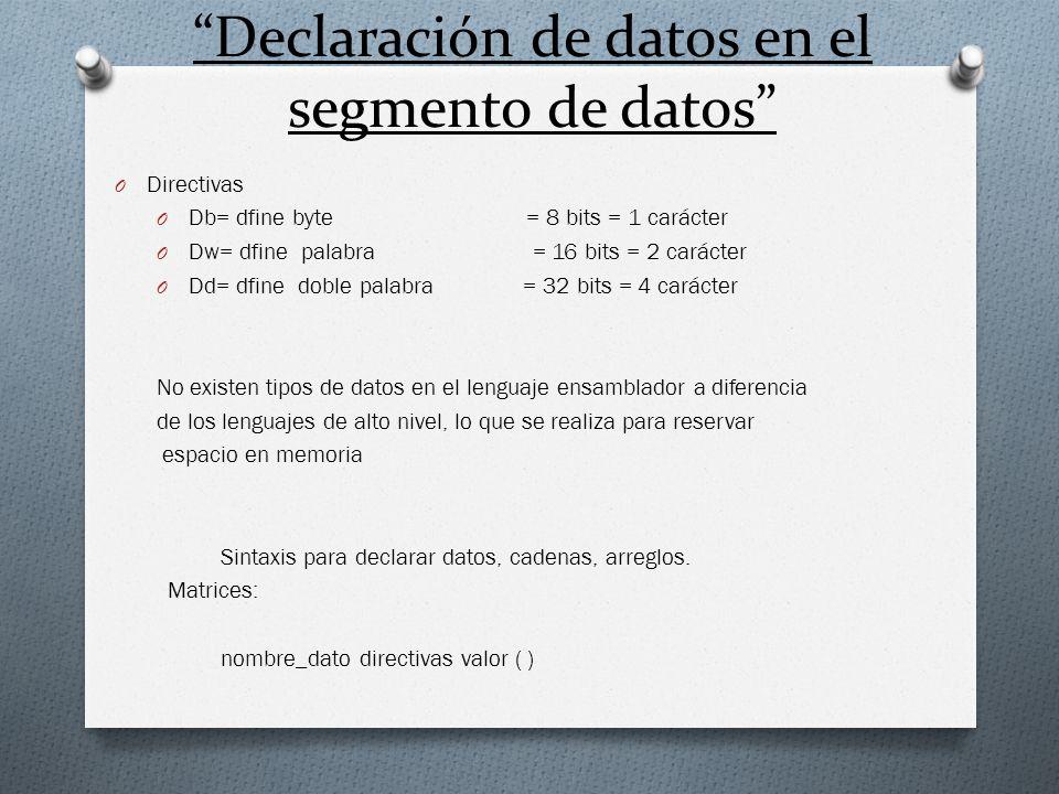Ejemplos: 1.- se desea declarar una variable contador de tipo byte inicializada a cero en el segmento de datos..data contador db 0 2.- define una variable llamada caracter inicializada con el carácter Z.data carácter db Z 3.- declarar una variable promedio inicializada con tu promedio general.data promedio dw 89.99