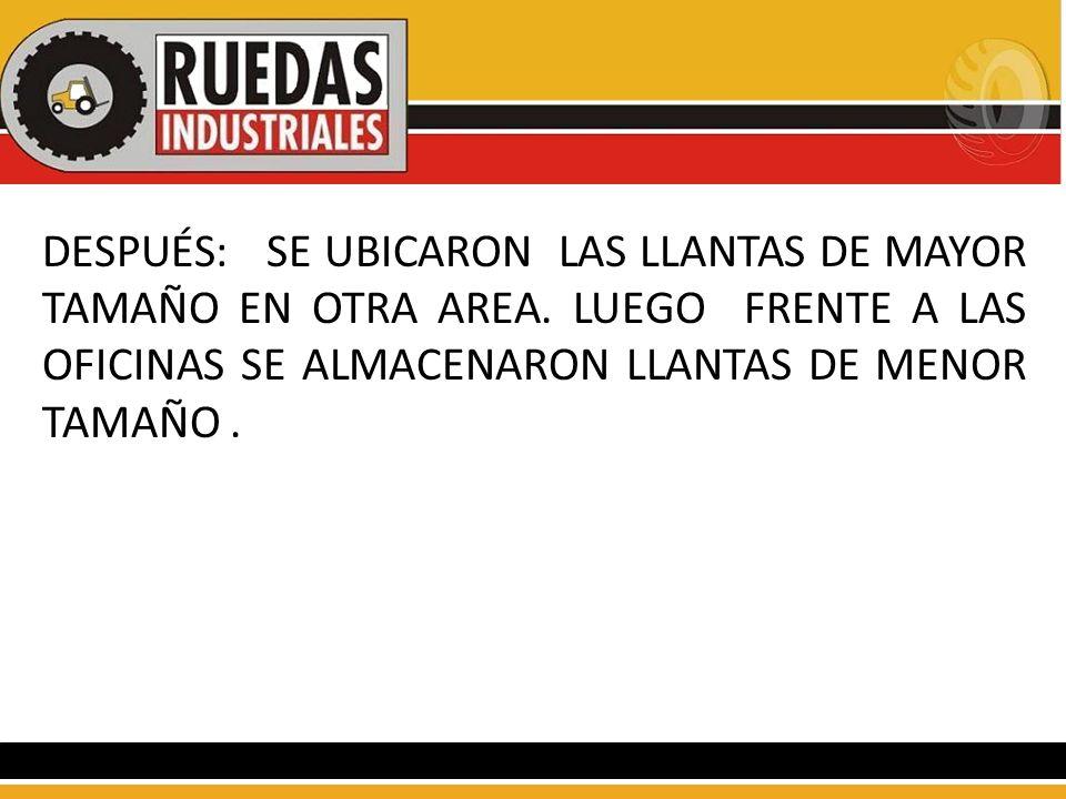 DESPUÉS: SE UBICARON LAS LLANTAS DE MAYOR TAMAÑO EN OTRA AREA. LUEGO FRENTE A LAS OFICINAS SE ALMACENARON LLANTAS DE MENOR TAMAÑO.