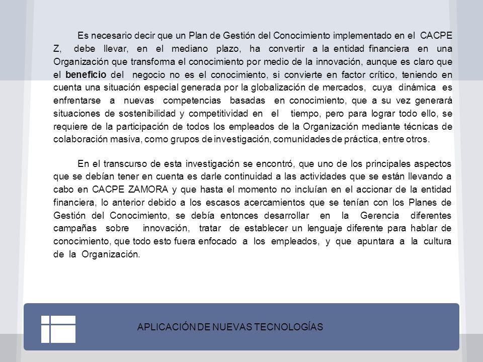 CONCLUSIONES Para la entidad financiera CACPE Zamora, implementar un modelo de Gestión del Conocimiento, puede significar ser un pionero por la relación Gestión del Conocimiento y Gestión Documental, en la ciudad de Zamora y llegar a servir de referente para otras organizaciones.