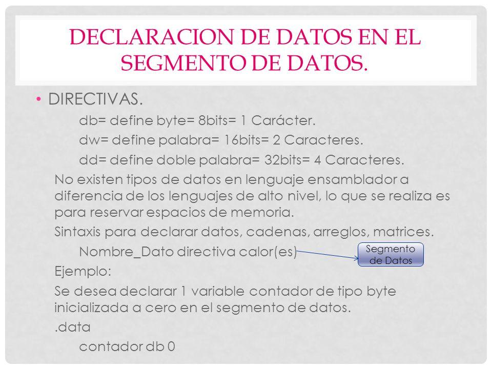 DECLARACION DE DATOS EN EL SEGMENTO DE DATOS. DIRECTIVAS. db= define byte= 8bits= 1 Carácter. dw= define palabra= 16bits= 2 Caracteres. dd= define dob