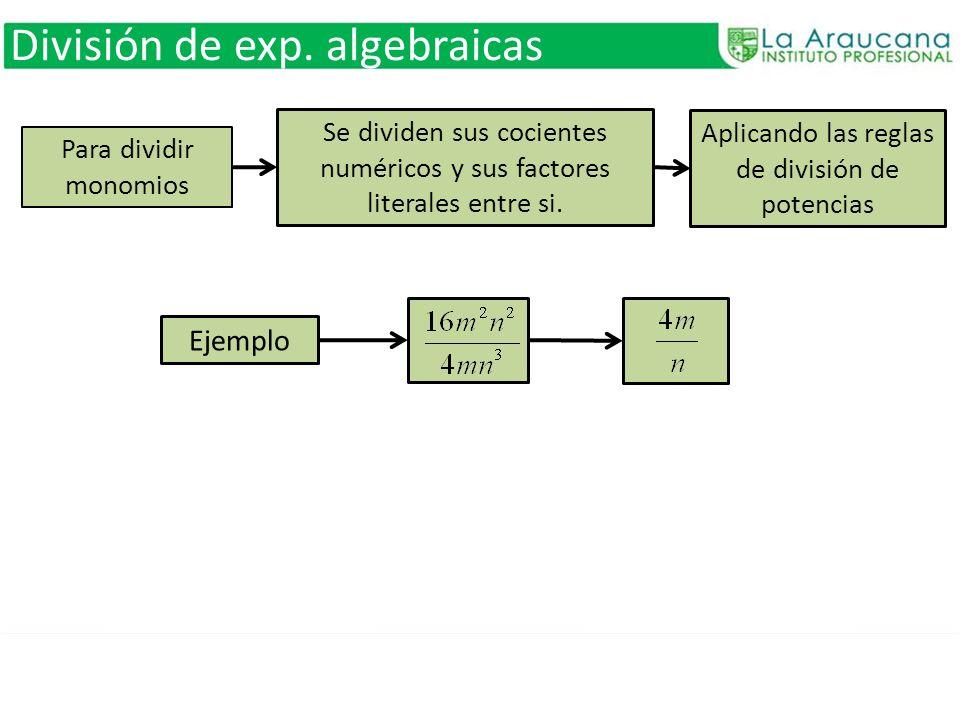 Para dividir monomios Se dividen sus cocientes numéricos y sus factores literales entre si. Aplicando las reglas de división de potencias División de