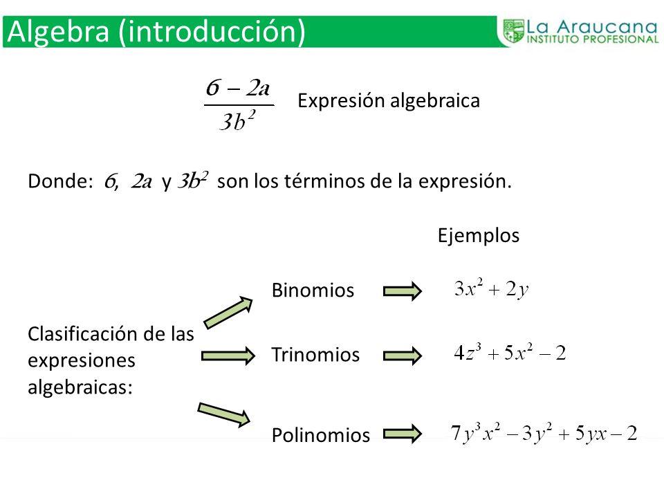 Algebra (introducción) Expresión algebraica Donde: 6, 2a y 3b 2 son los términos de la expresión. Clasificación de las expresiones algebraicas: Binomi