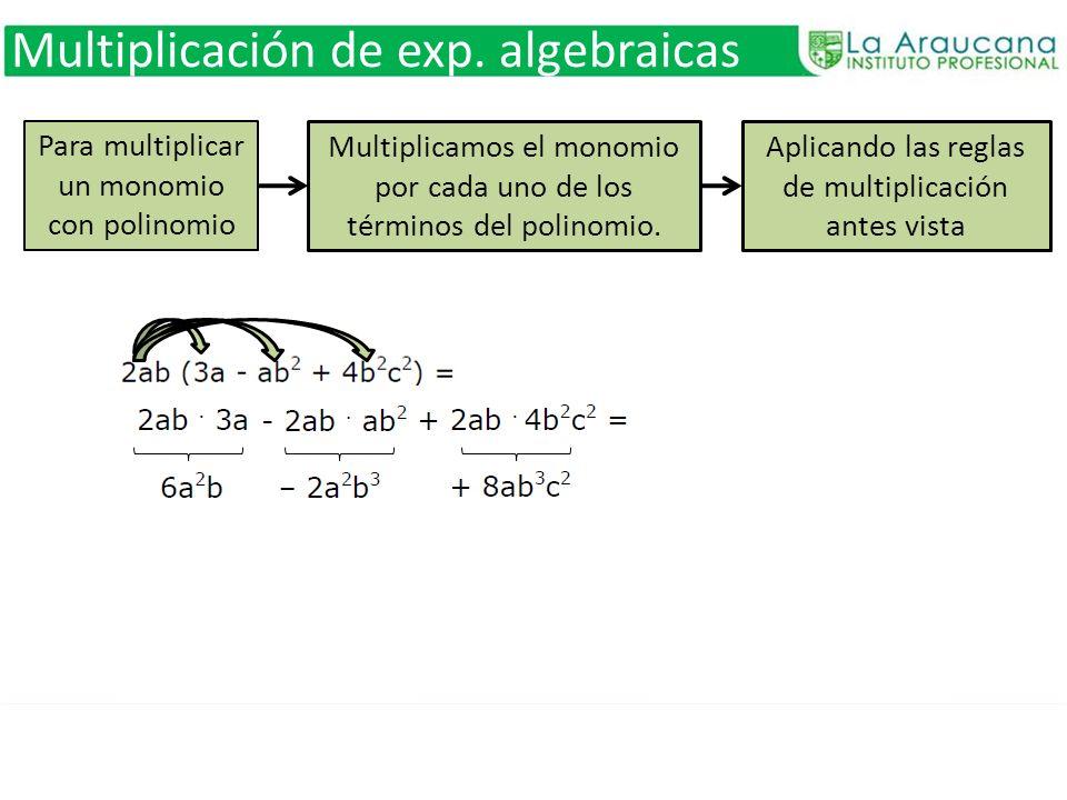 Para multiplicar un monomio con polinomio Multiplicamos el monomio por cada uno de los términos del polinomio. Aplicando las reglas de multiplicación