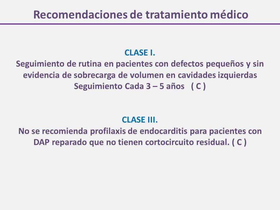 Recomendaciones de tratamiento médico CLASE I. Seguimiento de rutina en pacientes con defectos pequeños y sin evidencia de sobrecarga de volumen en ca
