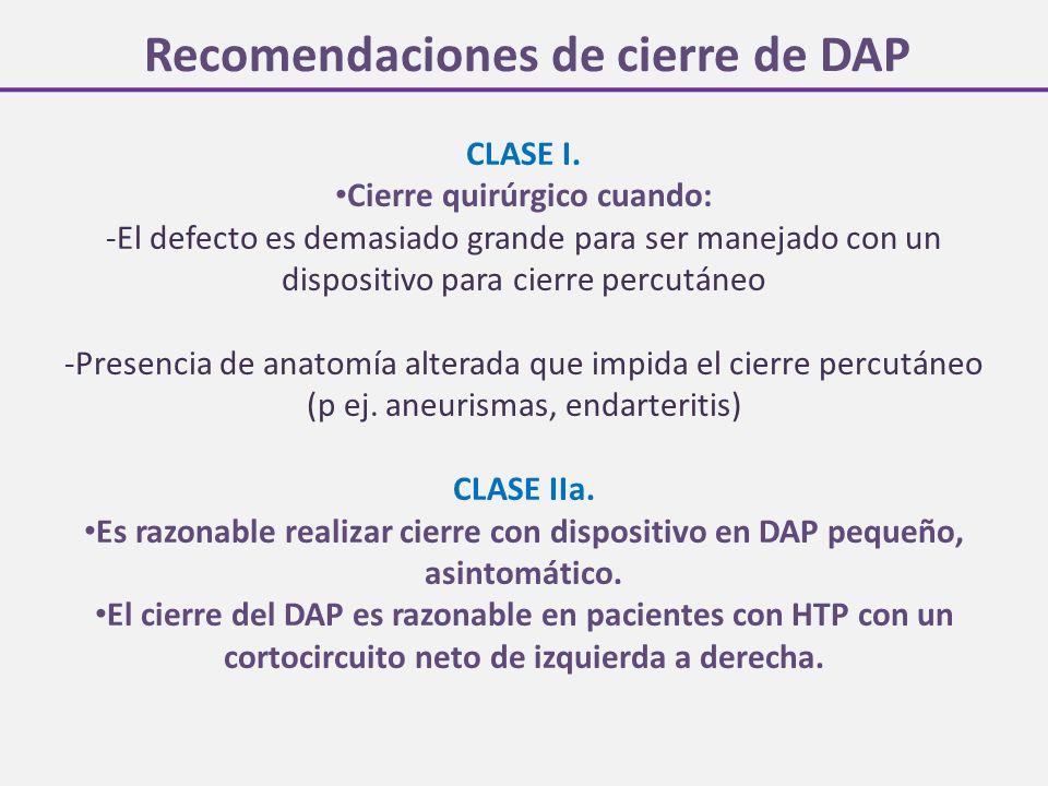 Recomendaciones de cierre de DAP CLASE I. Cierre quirúrgico cuando: -El defecto es demasiado grande para ser manejado con un dispositivo para cierre p