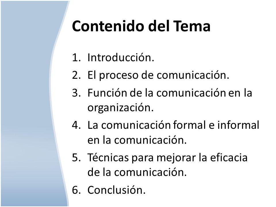 Contenido del Tema 1.Introducción. 2.El proceso de comunicación. 3.Función de la comunicación en la organización. 4.La comunicación formal e informal