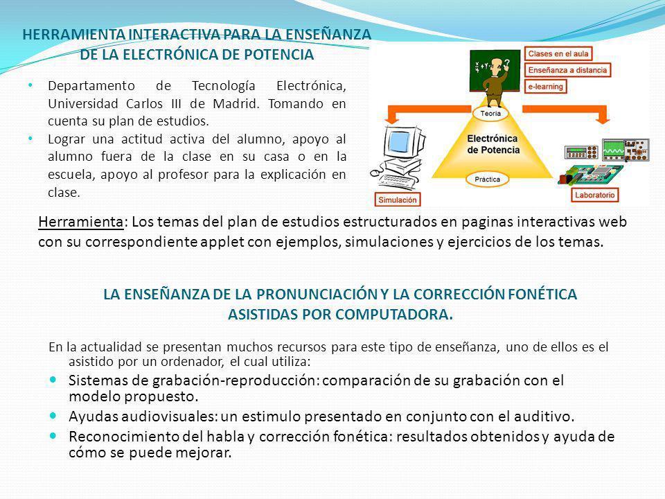 HERRAMIENTA INTERACTIVA PARA LA ENSEÑANZA DE LA ELECTRÓNICA DE POTENCIA Departamento de Tecnología Electrónica, Universidad Carlos III de Madrid. Toma