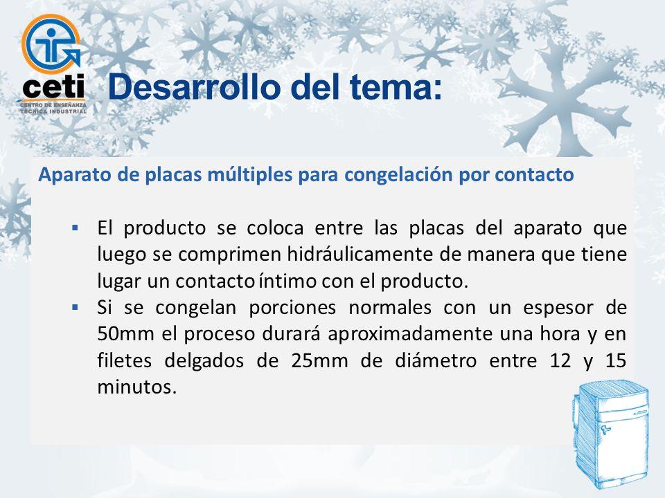 Aparato de placas múltiples para congelación por contacto El producto se coloca entre las placas del aparato que luego se comprimen hidráulicamente de manera que tiene lugar un contacto íntimo con el producto.