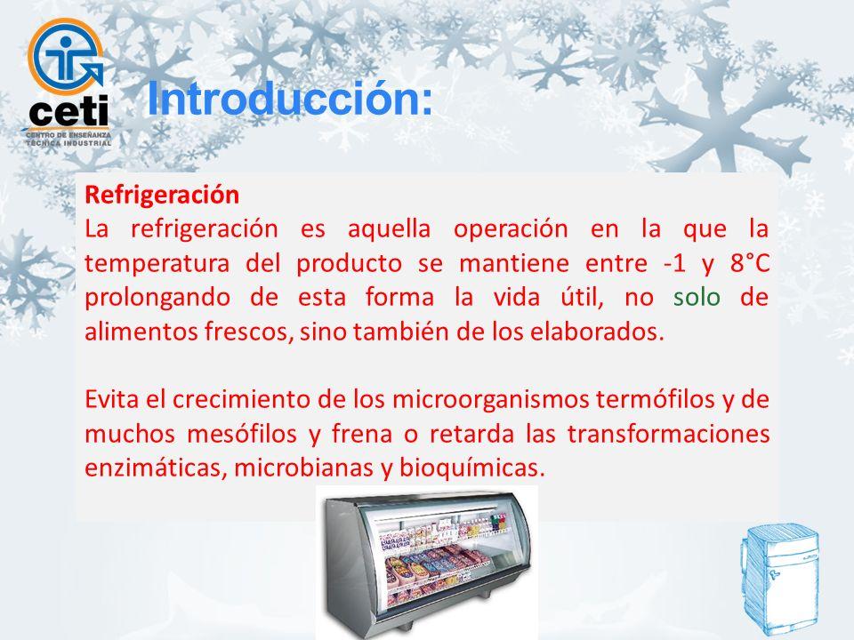 Congelación Es aquella operación en la que la temperatura del alimento se reduce por debajo de su punto de congelación, con lo que una porción elevada del agua que contiene cambia de estado formando cristales de hielo.