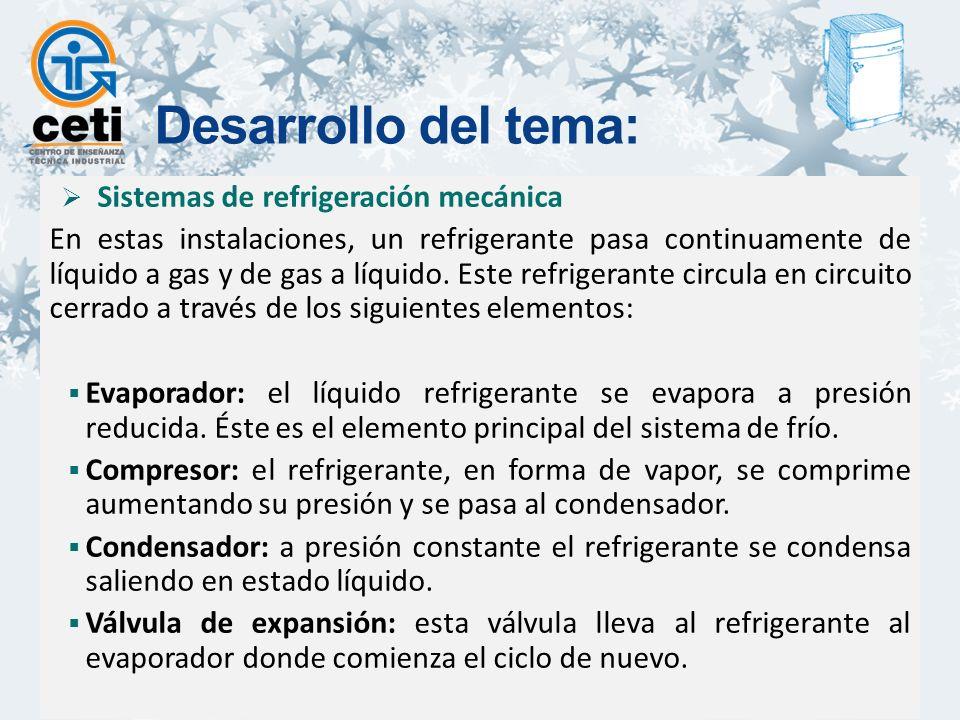 Sistemas de refrigeración mecánica En estas instalaciones, un refrigerante pasa continuamente de líquido a gas y de gas a líquido.