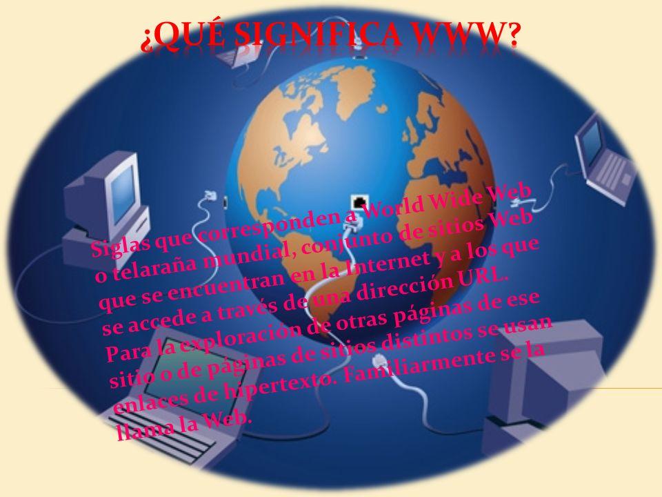 Siglas que corresponden a World Wide Web o telaraña mundial, conjunto de sitios Web que se encuentran en la Internet y a los que se accede a través de una dirección URL.