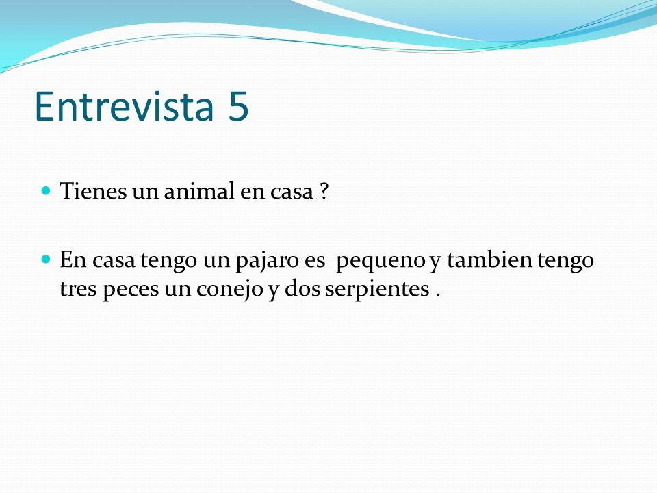 Entrevista 5 Tienes un animal en casa ? En casa tengo un pajaro es pequeno y tambien tengo tres peces un conejo y dos serpientes.