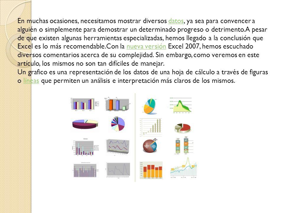 En muchas ocasiones resulta muy útil que la información contenida en un libro de Excel se visualice gráficamente.