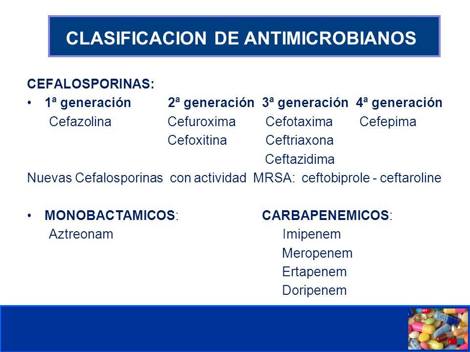 Comité de Prevención y Control de Infecciones Asociadas a la Atención de Salud CLASIFICACION DE ANTIMICROBIANOS CEFALOSPORINAS: 1ª generación 2ª generación3ª generación4ª generación Cefazolina Cefuroxima Cefotaxima Cefepima Cefoxitina Ceftriaxona Ceftazidima Nuevas Cefalosporinas con actividad MRSA: ceftobiprole - ceftaroline MONOBACTAMICOS:CARBAPENEMICOS: Aztreonam Imipenem Meropenem Ertapenem Doripenem