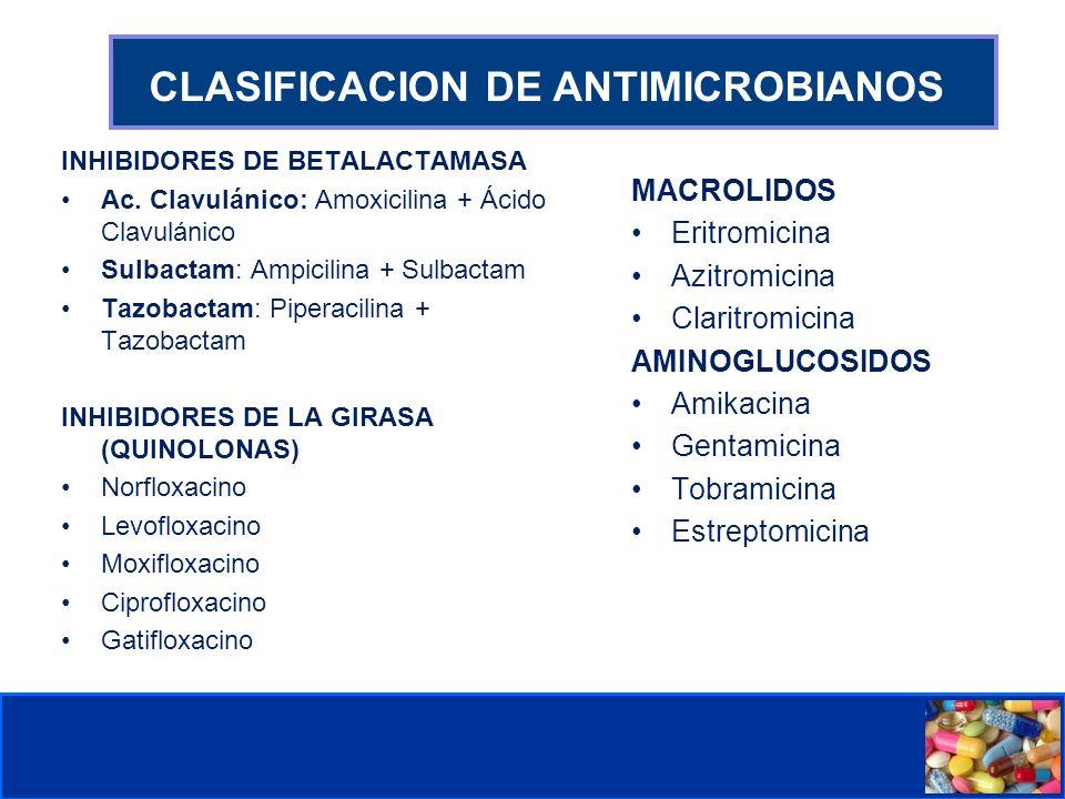 Comité de Prevención y Control de Infecciones Asociadas a la Atención de Salud CLASIFICACION DE ANTIMICROBIANOS INHIBIDORES DE BETALACTAMASA Ac.