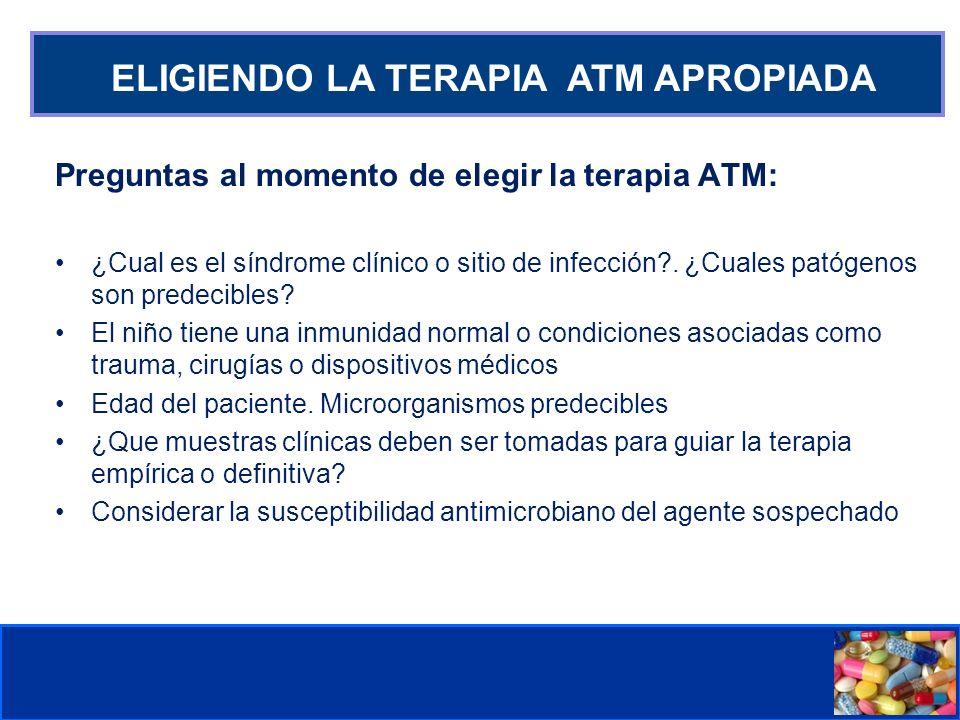 Comité de Prevención y Control de Infecciones Asociadas a la Atención de Salud ELIGIENDO LA TERAPIA ATM APROPIADA Preguntas al momento de elegir la te