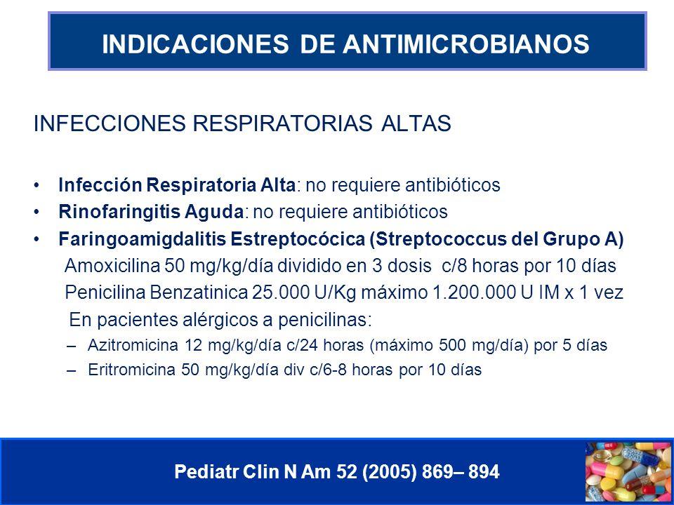 Comité de Prevención y Control de Infecciones Asociadas a la Atención de Salud INDICACIONES DE ANTIMICROBIANOS Pediatr Clin N Am 52 (2005) 869– 894 INFECCIONES RESPIRATORIAS ALTAS Infección Respiratoria Alta: no requiere antibióticos Rinofaringitis Aguda: no requiere antibióticos Faringoamigdalitis Estreptocócica (Streptococcus del Grupo A) Amoxicilina 50 mg/kg/día dividido en 3 dosis c/8 horas por 10 días Penicilina Benzatinica 25.000 U/Kg máximo 1.200.000 U IM x 1 vez En pacientes alérgicos a penicilinas: –Azitromicina 12 mg/kg/día c/24 horas (máximo 500 mg/día) por 5 días –Eritromicina 50 mg/kg/día div c/6-8 horas por 10 días