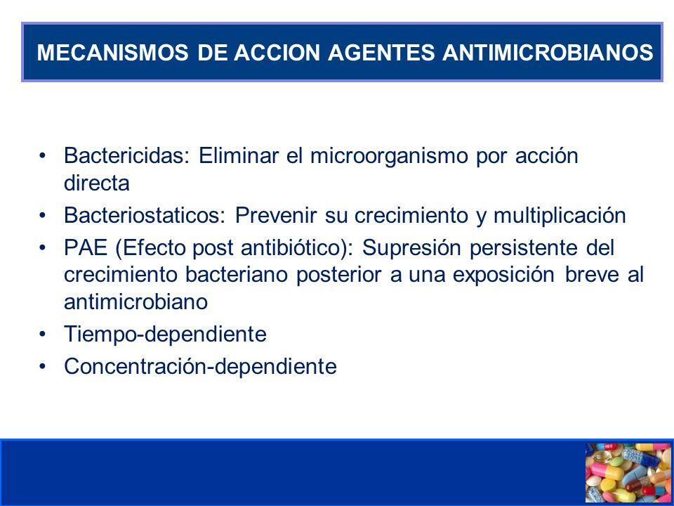 Comité de Prevención y Control de Infecciones Asociadas a la Atención de Salud MECANISMOS DE ACCION AGENTES ANTIMICROBIANOS Bactericidas: Eliminar el