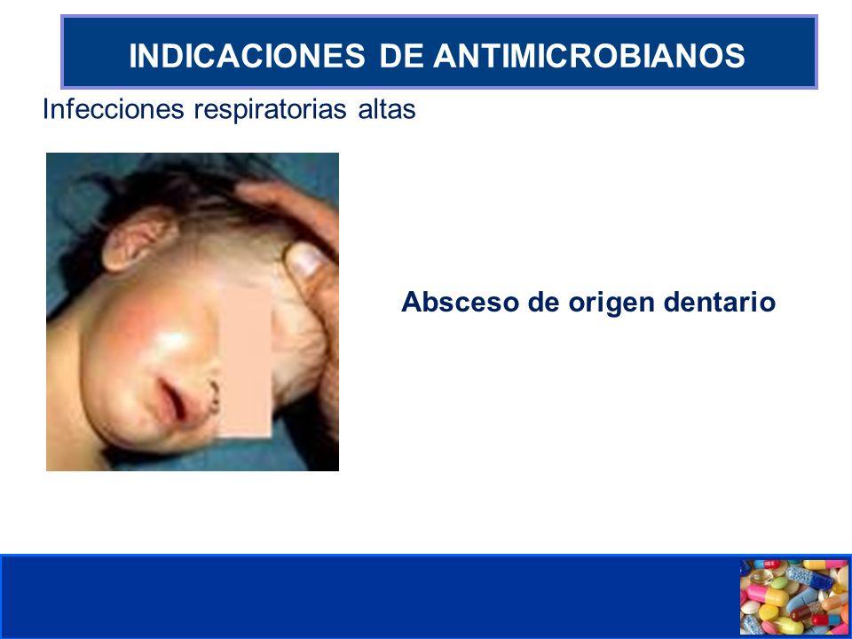 Comité de Prevención y Control de Infecciones Asociadas a la Atención de Salud INDICACIONES DE ANTIMICROBIANOS Infecciones respiratorias altas Absceso de origen dentario