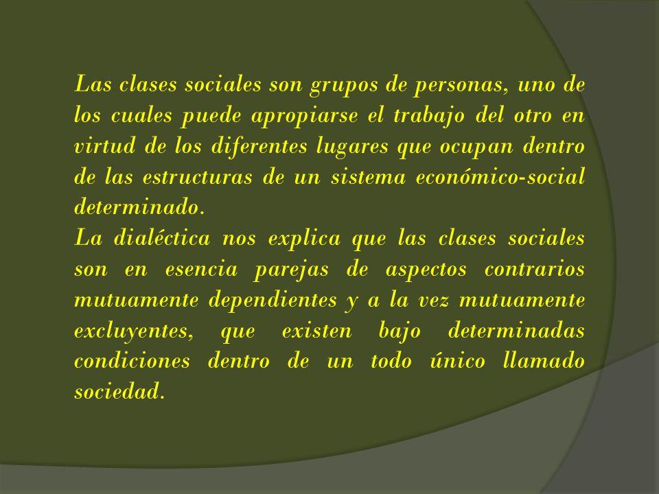 Las clases sociales son grupos de personas, uno de los cuales puede apropiarse el trabajo del otro en virtud de los diferentes lugares que ocupan dent