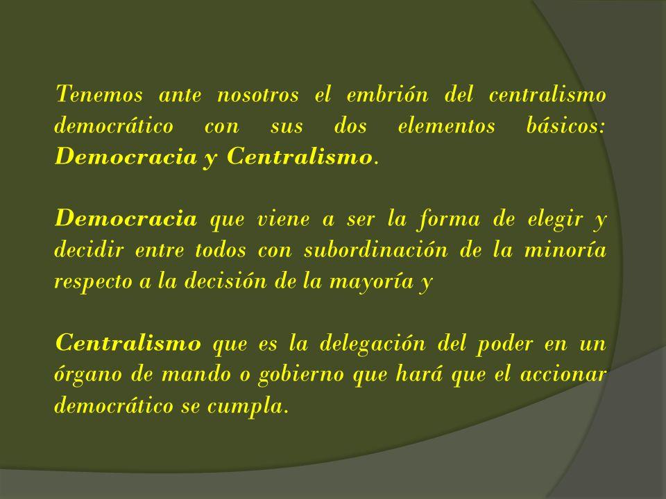 Tenemos ante nosotros el embrión del centralismo democrático con sus dos elementos básicos: Democracia y Centralismo. Democracia que viene a ser la fo