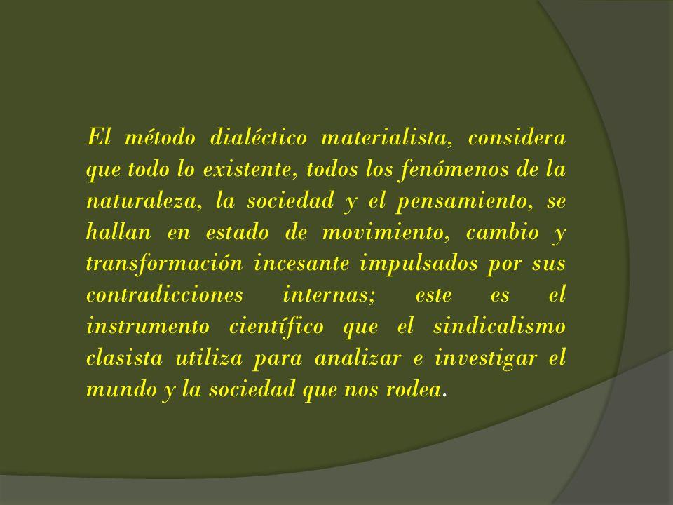 El método dialéctico materialista, considera que todo lo existente, todos los fenómenos de la naturaleza, la sociedad y el pensamiento, se hallan en e